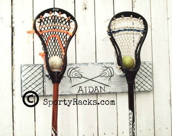 Lacrosse Stick 2 Hook Holder Lax Player Gift Lacrosse Art Girls Lacrosse Boys Lacrosse Personalized Sports Decor Sports Team Colors MTO Name