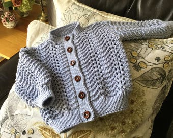 Blue baby cardigan. Hand knitted baby sweater. Feather and fan baby cardigan. Beautiful hand knitted baby sweater. READY TO SHIP.