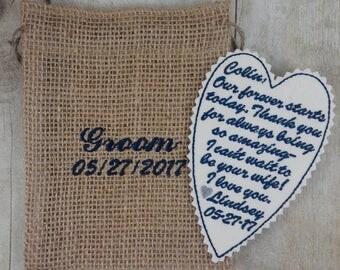Embroidered Custom Tie Patch - Groom keepsake - Wedding gift - Best Man - Father of Groom - Grandfather - Groomsmen - G8