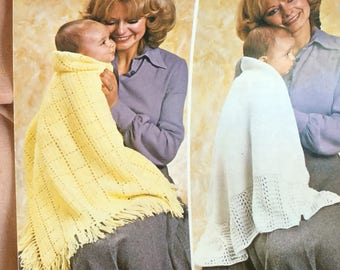 UK/EU SELLER Vintage pdf knitting instructions choice of 2 shawls, crochet square pattern optional fringe and knitted with lacy trim. 4-Ply.