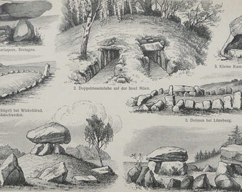 1897 Antique print of MEGALITHIC ART. ARCHEOLOGY. Megaliths. Dolmens. Cromlech. Stone Age. 120 years old engraving