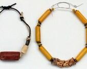 Antique African Snake Vertebrae Fossil Wood Beads Carved Bone Skulls Pipestone Wood Beads Bracelet Primitive Rustic Unisex