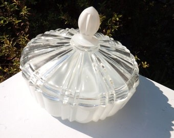 Two piece vintage candy jar - milk glass bottom - clear glass top