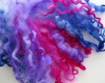 Pink and Blue Curly Wool Locks - Dolls Hair - Needle Felting Supplies - Mixed Berries 1/2 oz