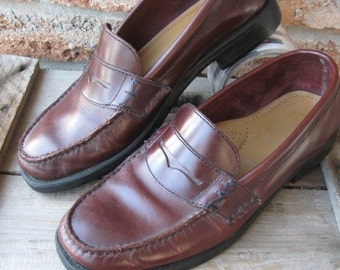 SALE Vintage BASS Penny Loafer, Oxblood Leather little wear good condition Size US 8.5 Preppy Trad