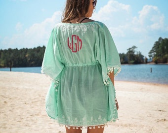 Pom Pom Beach Cover up / Swimsuit cover / monogram / women's / personalized coverup