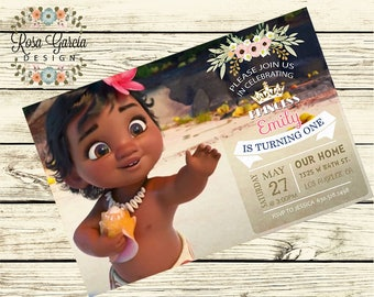 Baby Moana BIRTHDAY INVITATION - Birthday Party Invitation - Digital File - Fully Customized - BABY Moana - Birthday Card