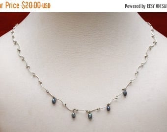Liz Claiborne necklace  - Grey fresh water Pearls -  - Delicate Swirl link - signed LC