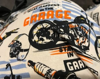"""Motorcycle inspired bra """"what happens in the garage stays in the garage"""""""