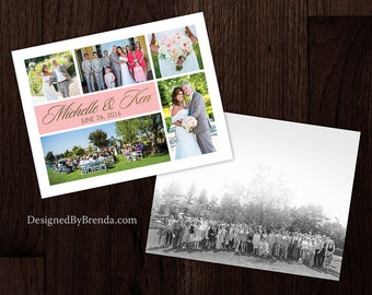 Modern Wedding Thank You You Card w/ Custom Photo Collage, Double Sided w/ Picture on Back and Space for Hand Written Message - Gold & Pink