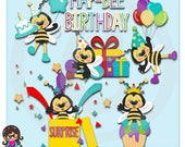 Birthday Bees Clip art  Clipart Graphics  Commercial Use