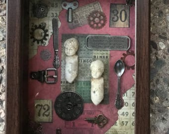 Wanderlust  Timeless Collage 3 d Shadowbox Original Artwork Shadowbox Old Doll Shadowbox Steampunk Industrial Artwork Mixed Media Shadowbox