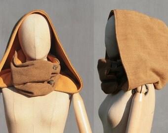 Victorian XXL hooded cowl Ocher,  Big hood, scoodie, hooded scarf, eco friendly design, fairytale, Larp, Solmode
