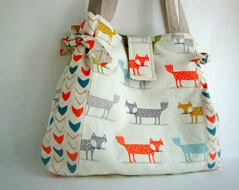 Cotton  Tote bag -  foxy  tote - shoulder bag - handmade - Spring tote -  unique tote - women - teen girls - summer tote