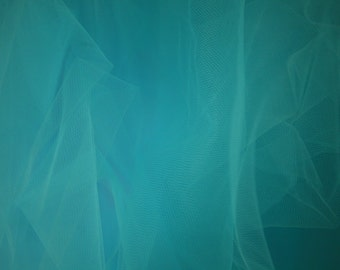 "Aqua Tulle Fabric 56"" Wide Per Yard"