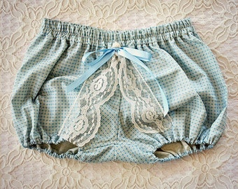 Vintage High Bloomer Shorts with Bow and Lace Blue for Baby or Girl