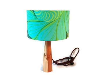 Hand turned wooden lamp base with vintage 70s fabric shade