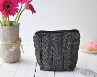 Small linen cosmetic bag, Pleated Makeup Bag, Toiletry storage, Linen Bag, Cosmetic Pouch, Makeup Organizer, Bridesmaid Makeup Bag, Black