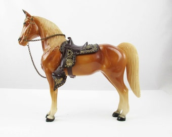 Palomino Horse - Vintage Horse With Saddle and Reins - Cowboys - Collectible - Detailed Saddle and Bridle - Cabin - Collectible - Palomino