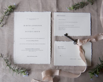 Vintage All Typed Invite, RSVP, Detail Card & Envelopes