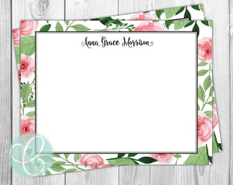 Rose Floral Stationery - Set of 12 - Women's - Flat Note Cards - Watercolor Flowers Pink Green Paper Thank You Cards Feminine Bridal Shower