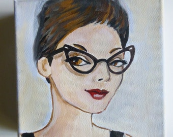 June at the office, vintage woman in cat eye glasses.