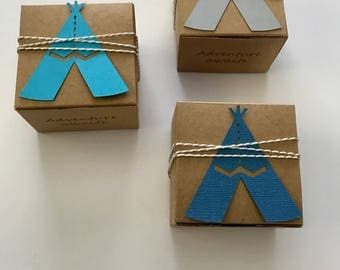25 teepee favor boxes - adventure awaits baby shower  - custom boxes