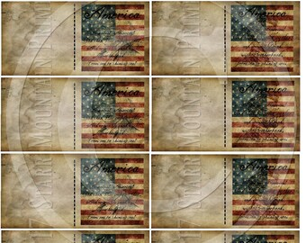 Primitive American Flag Americana Washington Lincoln Half Fold Foldable Price Gift Tags Scrapbook Printable Jpeg Digital Hang tags Labels