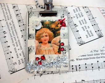Clip board Ornament- Stocking stuffer- Christmas ornament- Vintage Angel image- Gift tie on-  Clipboard style-Upcycled by metrocottage