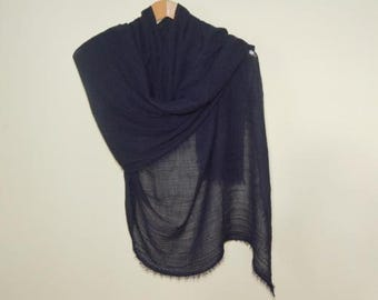 Long Navy Blue Scarf, Spring Navy Blue Scarf ,Women, Lightweight Scarf, Gift Ideas for Her