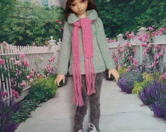 hand knitted Summer Cardigan with hat & scarf for BJD MSD Fairyland MiniFee girl