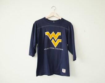 Vintage 70's West Virginia Mountaineers 3/4 Sleeve Shirt Medium
