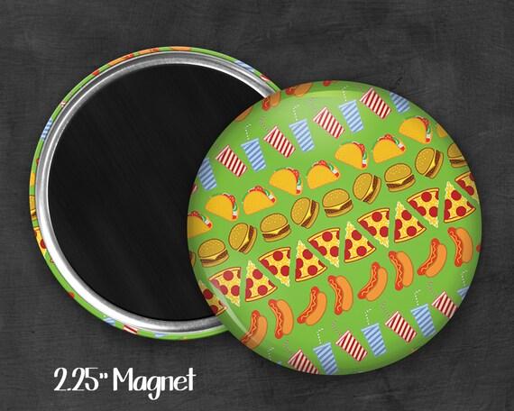 """2.25"""" Junk Food Magnet, Geek Magnet, Geekery, Magnet Button,  Kawaii Magnet, Refridgerator Magnet, Kawaii, Fairy Kei, Pastel Goth"""