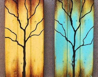 Tree Paintings on Reclaimed Wood 15X17 Seasons Of Change Double By Artist Rafi Perez