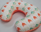 Nursing pillow Cover, Aqua/Coral Arrows,  minky backside,  boppy pillow not included