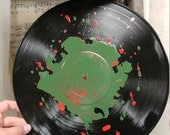 Vinyl Record Art - Christmas Red and Green Wall Decor - Upcycled and Repurposed Vinyl Record - Christmas Decorations - Gift for Music Lover