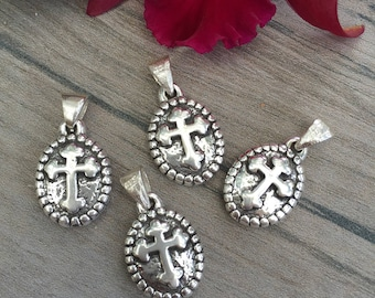 Round cross charm. Strling silver. Puff charm.