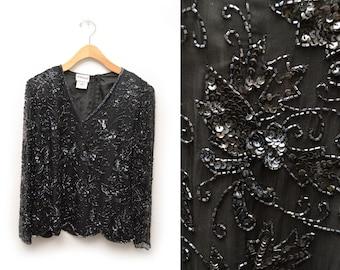 80s Black Sequined Blouse Silk Beaded Stenay Women's Medium Sheer Sleeves