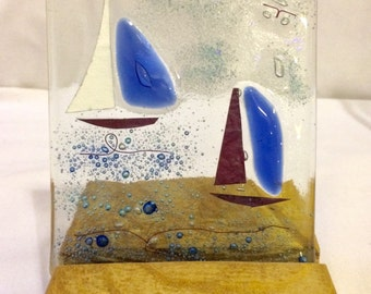 Recycled glass sailing boats in reclaimed wood base...