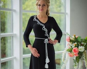 """Elegant knitted black dress """"Academic"""""""
