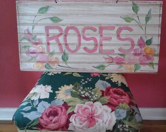 Hand painted roses sign