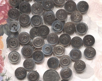 Group of 50 Vintage Mother of Pearl Buttons-(1/2 inch)-Item#163