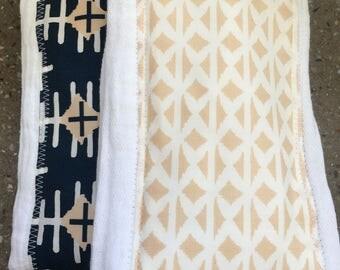 Burp Cloth baby gift (set of 2) - navy cream tribal- modern baby