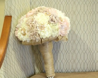 Brooch and Fabric Bridal Bouquet /  Wedding Brooch Bouquet / Made to Order