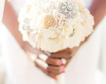 Bridal Fabric Brooch Bouquet /  Brooch Bouquet / Made to Order