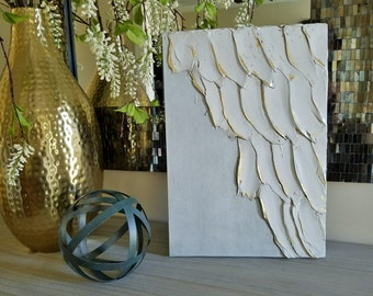 Clearance Angel Wing Art, Guardian Angel, Abstract wing wing on wood with gold leaf, ethereal, heavenly 11 x 16, Pale Grey