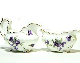 "Petite Hammersley English Bone China Cream and Sugar Set ""Victorian Violets"""