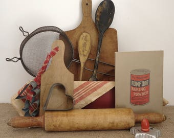 vintage kitchen antique, Country farmhouse kitchen display, cutting board, wood spoons, cookie cutters, old cookbook, rolling pin, props