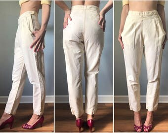 Vintage 80s Buttercream Cotton Yoke Front Pants