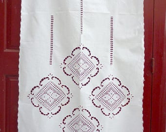 White cutwork curtain with hand-crochet lace - Mediterranean style- Cottage chic- Traditional design- Farm house decor -0000876
